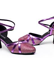 Women's Modern PU Glitter Heel Indoor Buckle Splicing Purple Gray Silver Black Gold Customizable