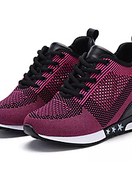 cheap -Women's Shoes Tulle Spring Fall Comfort Athletic Shoes Walking Shoes Flat Heel Round Toe Lace-up For Casual Red Fuchsia Gray Black