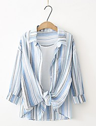 Women's Sports Beach Casual/Daily Sexy Cute Summer Fall Shirt,Solid Striped Shirt Collar Long Sleeves Cotton Others Thin Medium