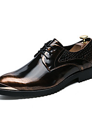 cheap -Men's Shoes Leather Fall Winter Formal Shoes Oxfords Lace-up For Wedding Party & Evening Gold Black Silver