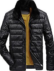 Недорогие -Пальто Простое Обычная Пуховик Для мужчин,Однотонный На выход На каждый день Полиуретановая Хлопок Пух белой утки,Длинный рукав