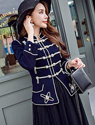 Cappotto Da donna Casual Vintage Inverno,A strisce Colletto alla coreana Nylon Corto Manica lunga Ricamato