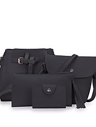 baratos -Mulheres Bolsas PU Conjuntos de saco Ziper Cinzento Escuro / Cinzento / Marron