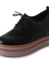cheap -Women's Shoes PU Spring Fall Basic Pump Comfort Oxfords Wedge Heel Round Toe Lace-up For Casual Office & Career Khaki Black White
