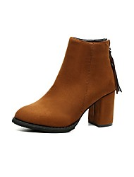 Women's Shoes Suede TPU Fall Winter Fashion Boots Boots Chunky Heel Round Toe Booties/Ankle Boots Tassel(s) For Casual Dress Khaki Brown