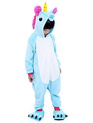 cheap -Kigurumi Pajamas with Slippers Flying Horse / Unicorn Onesie Pajamas Costume Flannel Fabric Purple / Blue / Pink Cosplay For Kid's Animal
