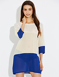Women's Casual/Daily Loose Dress,Striped Round Neck Mini ½ Length Sleeve Cotton Summer Mid Rise Inelastic Thin