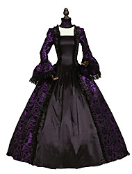 Lace Rococo Elegant Victorian Costume Women's Party Costume Masquerade Blue Purple Red Green Vintage Cosplay Satin Long Sleeves Floor