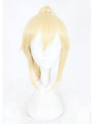 economico -Donna Parrucche sintetiche Pantaloncini Kinky liscia Biondo Parrucca di treccine Con la coda di cavallo Parrucca Cosplay Parrucca per