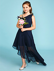 cheap -A-Line One Shoulder Asymmetrical Chiffon Junior Bridesmaid Dress with Side Draping by LAN TING BRIDE®
