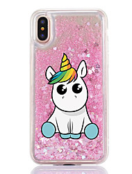 cheap -For iPhone X iPhone 8 Case Cover Flowing Liquid Transparent Pattern Back Cover Case Unicorn Cartoon Hard Plastic for Apple iPhone X