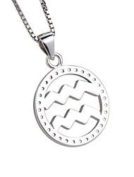 Femme Pendentif de collier Zircon cubique Forme de Cercle Verseau Argent sterling Zircon Personnalisé Simple Style Bijoux Pour Soirée