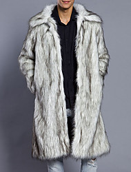 Men's Plus Size Casual/Daily Simple Fall Winter Fur Coat,Solid Shirt Collar Long Sleeve Long Faux Fur