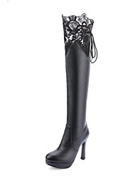 Women's Shoes Leatherette Winter Novelty Fashion Boots Boots Stiletto Heel Round Toe Thigh-high Boots For Wedding Party & Evening Black