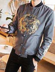 abordables -Veste Grandes Tailles Normal Homme, Motif Animal Quotidien simple Décontracté Chinoiserie Hiver Automne Mao Coton