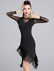 cheap -Latin Dance Dresses Women's Performance Milk Fiber Tassel(s) 1 Piece Long Sleeve Natural Dresses