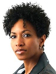 billige -Syntetiske parykker Afro / Kinky Curly Syntetisk hår Afro-amerikansk paryk Sort Paryk Dame Kort Lågløs