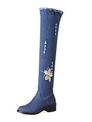 cheap -Women's Shoes Denim Fall / Winter Cowboy / Western Boots Boots Chunky Heel Round Toe Knee High Boots Rhinestone / Zipper Blue