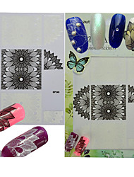cheap -1pcs Fashion Black White Flower Lace Nail Art DIY 3D Sticker Manicure Beautiful Decals Decoration BP248