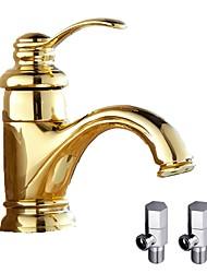 Moderno Montaggio su piattaforma Valvola in ceramica Una manopola Un foro for  Ti-PVD , Lavandino rubinetto del bagno