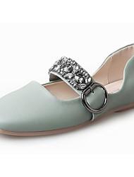 Women's Shoes PU Fall Comfort Flats Flat Heel Square Toe Rhinestone For Casual Light Blue Blushing Pink Black White