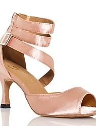"""Women's Latin Silk Sandal Performance Buckle Cuban Heel Almond Black 2"""" - 2 3/4"""" Customizable"""