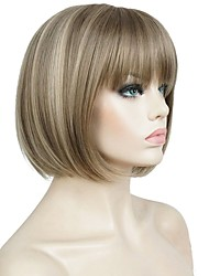 Women Synthetic Wig Capless Short Straight Brown Highlighted/Balayage Hair Bob Haircut Celebrity Wig Cosplay Wig Natural Wigs Costume Wig