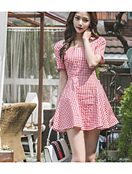 cheap -Women's Daily Going out Casual Skater Dress,Check Round Neck Mini Short Sleeves Cotton Spandex Summer High Rise Micro-elastic Medium