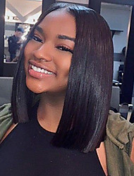 Women Human Hair Lace Wig Brazilian Human Hair 360 Frontal 130% Density With Baby Hair Straight Wig Black Short For Black Women