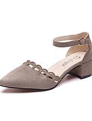 Damen Schuhe PU Frühling Sommer Komfort Pumps Sandalen Blockabsatz Runde Zehe Schnalle Für Kleid Party & Festivität Schwarz Gelb