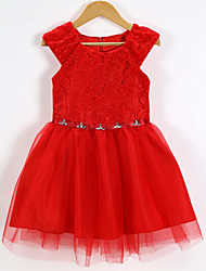 cheap -Girl's Birthday Going out Solid Dress,Cotton Polyester Summer Short Sleeve Lace Red