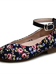 cheap -Girls' Shoes Fabric Spring Fall Comfort Flower Girl Shoes Light Soles Flats Buckle For Party & Evening Dress Dark Blue