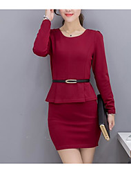 Women's Going out Casual/Daily Simple Bodycon Sheath Dress,Solid Round Neck Above Knee Long Sleeves Cotton Spandex Summer Fall High Rise