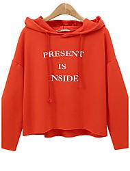Women's Casual/Daily Simple Regular Hoodies,Print Red / Black / Green Round Neck Long Sleeve Cotton / Rayon Fall / Winter Medium Inelastic