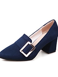 cheap -Women's Shoes Fleece Spring Fall Comfort Heels Chunky Heel Pointed Toe Buckle For Outdoor Office & Career Burgundy Dark Blue Black