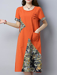 cheap -Women's Daily Going out Vintage Chinoiserie Loose Dress,Patchwork Round Neck Knee-length Short Sleeves Cotton Linen Summer Fall Mid Rise