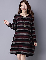 Women's Going out T Shirt DressColor Block Round Neck Asymmetrical Long Sleeves Others Spring Fall Mid Rise Micro-elastic Medium