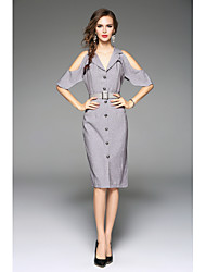 cheap -Women's Work Going out Bodycon Knee-length Dress, Solid V Neck Short Sleeves Summer