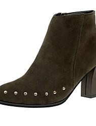 Feminino Sapatos Couro Ecológico Inverno Conforto Botas Rasteiro Ponta Redonda Botas Curtas / Ankle Ziper Para Casual Preto Verde