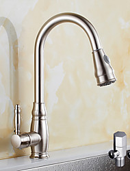 Contemporary Pull-out/­Pull-down Vessel Widespread Rotatable Pull out Ceramic Valve Nickel Brushed , Kitchen faucet