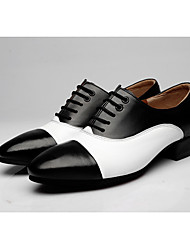"""cheap -Men's Modern Real Leather Oxford Outdoor Splicing Chunky Heel Black/White Brown/White 1"""" - 1 3/4"""""""