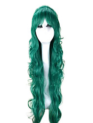 cheap -Synthetic Hair Wigs Wavy With Bangs Capless Party Wig Cosplay Wig Long Green