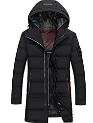 Men's Long Down Coat,Simple Going out Casual/Daily Solid-Cotton Polyester Polypropylene Long Sleeves