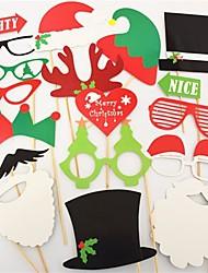 abordables -20 unids / set navidad photobooth favorece la tarjeta de papel de los vidrios máscara divertida decoración de la fiesta de Navidad