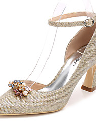 cheap -Women's Shoes Glitter Spring Fall Basic Pump Ankle Strap Wedding Shoes Chunky Heel Pointed Toe Rhinestone Crystal For Wedding Party &