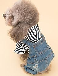 cheap -Dog Jumpsuit Dog Clothes Jeans Blue Denim Costume For Pets Men's / Women's Casual / Daily