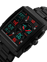 cheap -Men's Sport Watch Military Watch Wrist Watch Japanese Quartz 50 m Water Resistant / Water Proof Calendar / date / day Chronograph Plastic Band Analog-Digital Vintage Casual Bangle Black - Black Red