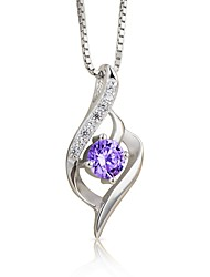 cheap -Women's Geometric Classic Fashion Pendant Necklace AAA Cubic Zirconia Sterling Silver Zircon Pendant Necklace , Wedding Gift