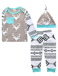 cheap -Boys' Print Clothing Set,Cotton Summer Fall Long Sleeve Brown