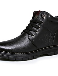Men's Shoes Leather Fall Winter Combat Boots Boots Booties/Ankle Boots Lace-up For Casual Outdoor Brown Black